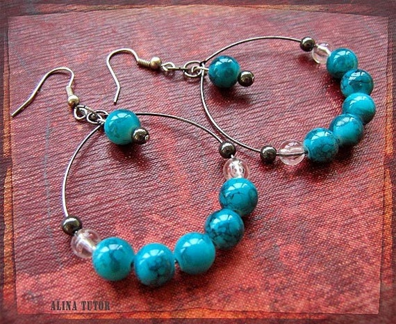 Turquoise  hoop earrings - hematite, crystal clear drops and glass beads