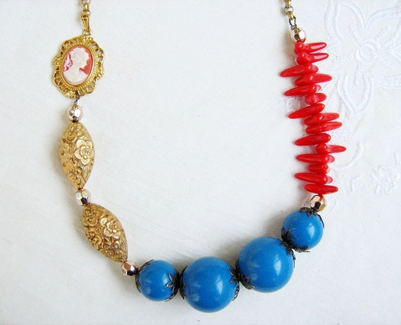 Cameo Statement  Necklace, Modern Baroque Chunky Necklace in Blue,Red, Gold