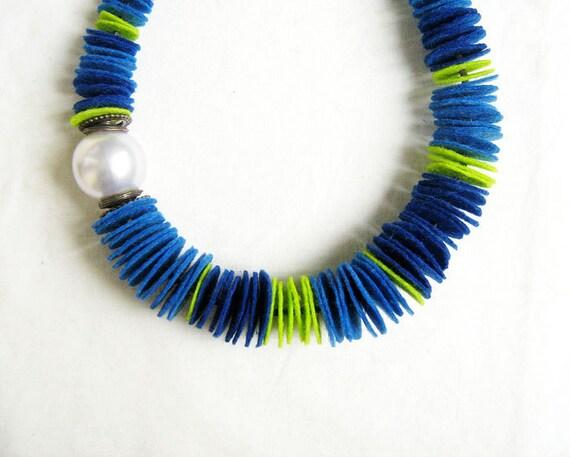 SALE - Felt Statement Necklace, Pearl Necklace, Blue Green Necklace