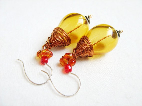 Honey drop earrings - handblown glass beads, copper wire, crystals, sterling silver