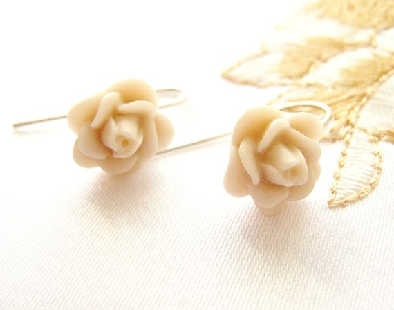 Rose Earrings, sterling silver earrings, Ivory cream  white earrings, more colors available