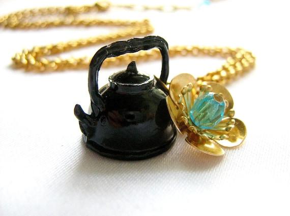 Tea Pot Necklace, Tea Party Necklace,  tea pot charm necklace, flower and crystals on gold