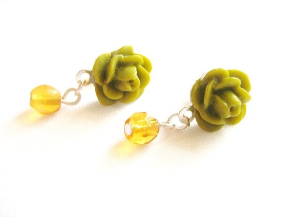 Rose post earrings, sterling silver, Olive green and amber, more colors available