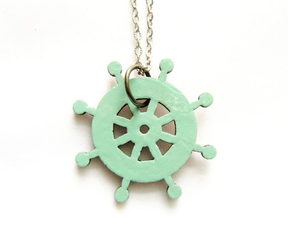 Sail Away Necklace - handmade jewelry, steering wheel sailboat pendant - LAST ONE