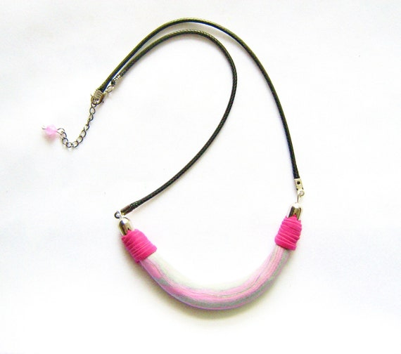 Pastel Ombre Necklace in Grey and Pink - Elements Collection-  Modern Tribal Handmade Jewelry - leather, polymer clay