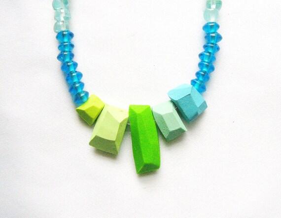 Geometric Statement  Necklace Bora Bora - Neon, Pastel Handmade Geo Jewelry - Rare Diamonds Collection