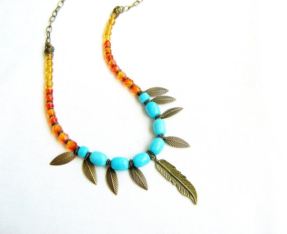 Feather and Leaves Statement Necklace - Cockatoo Amulet Charm Necklace