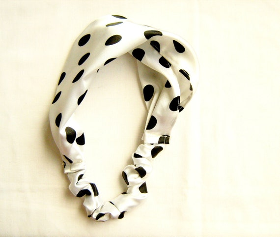 Satin Polka Dot Headband, Black and White, elastic hair accessory, bandana/ turban style head scarf