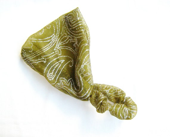 Green Paisley Sheer Headband,  stretchy hair accessory, turban style head scarf