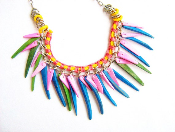 Samba Rio Necklace - neon and pastel pink, blue, yellow, green,  fringe handmade woven necklace