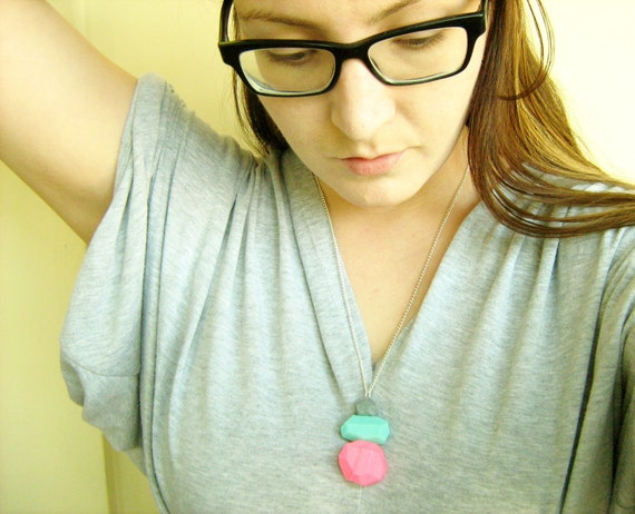 Neon Bubblegum Geo Necklace in Mint, Hot Pink and Grey - Rare Diamonds Collection