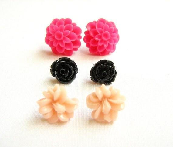 Flower Post Earrings, Set of Three Pairs -The Drama Queen - Neon Pink, Black, Peach, Dahlia, Chrysanthemum and Rose stud earrings