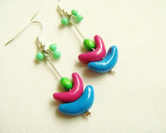 Sailboat Earrings in neon, Geometric Polymer Clay Earrings, Colorful Beaded Earrings