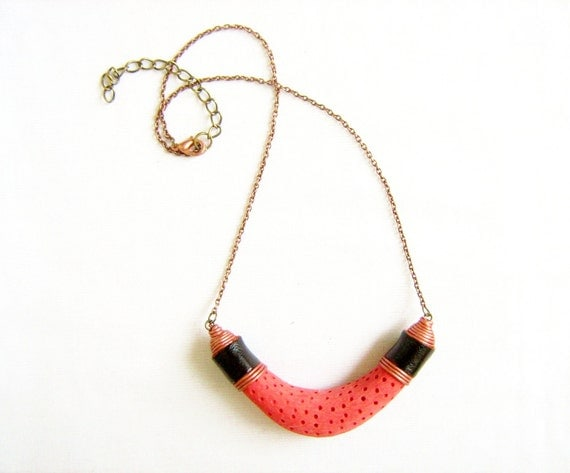 Vegan Sponge Coral Necklace in Salmon Red - ELEMENTS Collection-  Modern Tribal Handmade Jewelry - leather, polymer clay, copper