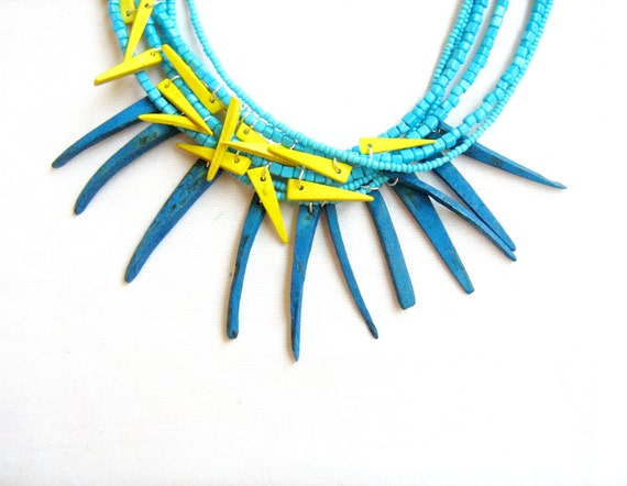 Geometric Spikes Necklace - Neon Abstract Triangle Geometric  tribal inspired handmade necklace