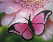 Silk Butterflies - Set of 3 - Pink - Hand Painted - Great for Home Decor, Wedding, Gifts