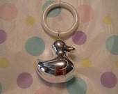 DOODLE DUCK Sterling Silver Plated Engrave-able RATTLE