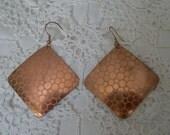 Vintage Patterned Geometric Coppertone Earrings