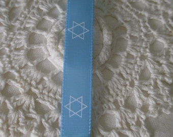 100 Yds Blue Mist Custom Designed Judaic Polyester Ribbon