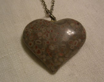 Texas Lianite Heart Pendant Necklace