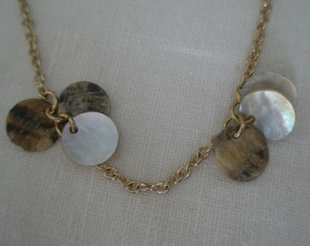 Vintage Long Necklace of Abalone Disc Clusters