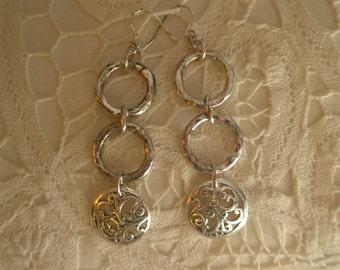 Vintage Silver Tone Multi Link Dangle Paisley Design Earrings
