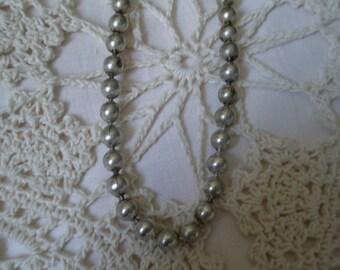 Vintage Sterling Bead Choker Necklace