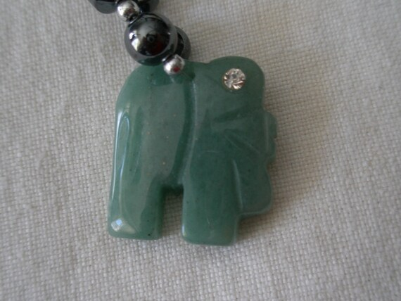 Jade & Rhinestones Elephant on a Black Bead Necklace