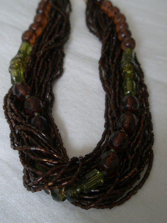 Vintage Brown and Amber Sequin Beaded Choker Necklace