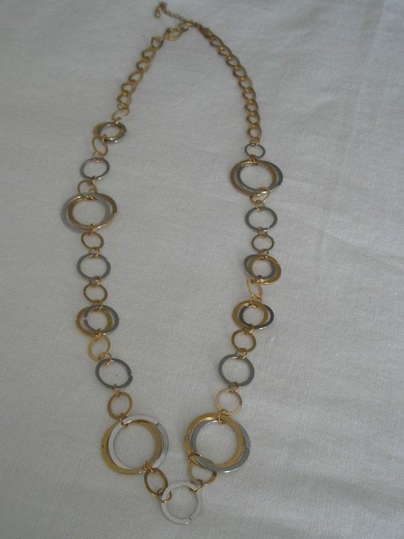 Vintage Retro Large Circles Silver & Gold Tone Necklace