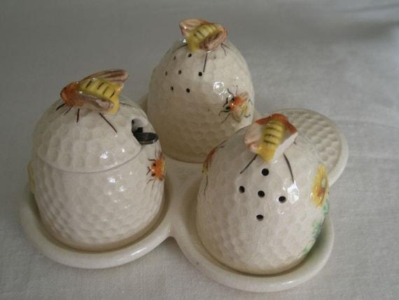 Antique Marumoto Salt Pepper and Honey Pot Bumble Bee Hive Set