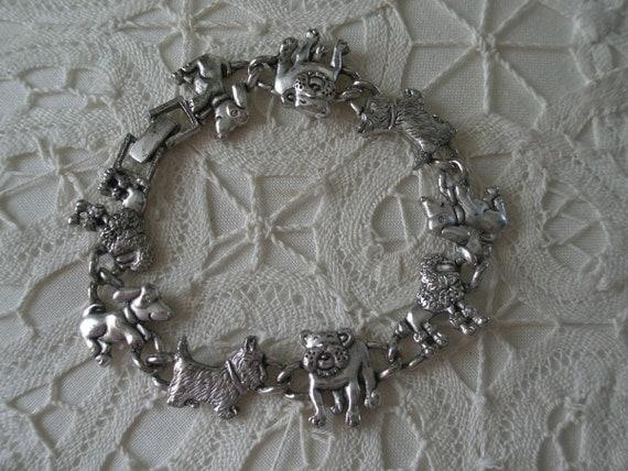 Vintage Hand Cast Silver Tone Dogs on Parade Bracelet