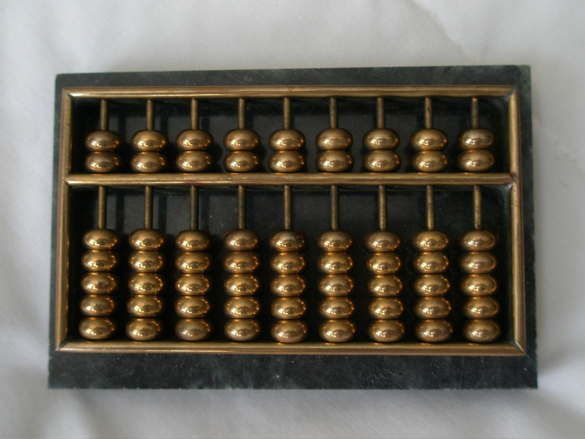 Chinese brass abacus and marble paperweight by prettypaulaproducts