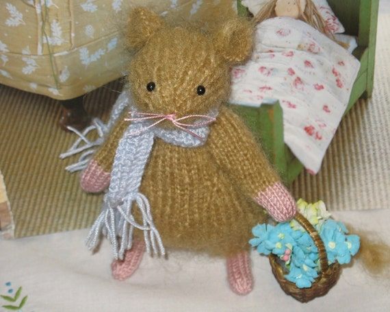 Benjamin    Handknitted artist collectible  decorative  mouse    Reserved for Charlotte (not for sale)