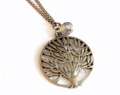 Go Green - Tree with cystal necklace (N088) in vintage brass color