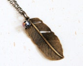 Take one from Angel - Feather Necklace with crystal (N162)