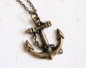 Anchor Necklace (N186) in vintage brass color