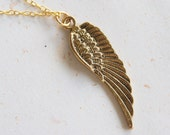 Angel's Blessing - Wing Necklace (N237)  in vintage golden color