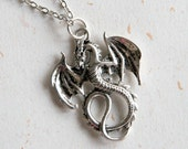 Dragon Necklace (N300) - Small flying dragon in vintage silver color