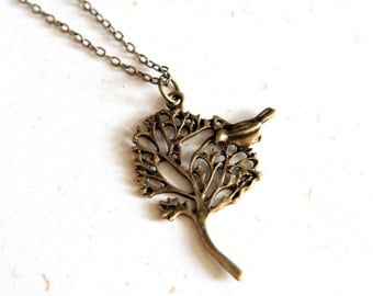 Tree and Bird Necklace (N093) in vintage brass color