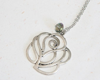 Rose necklace with crystal (N059) in silver color