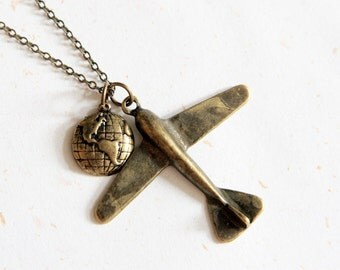 Fly around the world - Plane and Globe Necklace (N127)