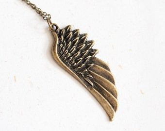 Angel's Wing Necklace (N172) in vintage brass color
