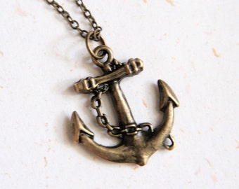 Anchor Necklace (N186) in vintage brass color
