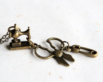 DIY Lover - Scissors, Pin and Sewing Machine Necklace (N224)