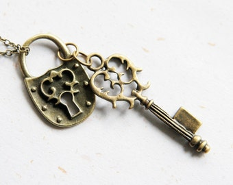 Open the Lock of Love - Lock and Key Necklace in Vintage brass color(N223)