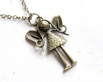 Angel Necklace (N281) in brass color