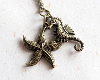 Ocean Charm - Seahorse & Sea star Necklace (N283)