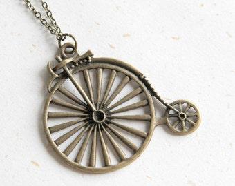 Highwheeler Necklace in Vintage Brass color (N132)