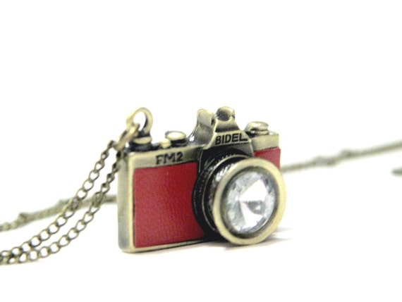 Go Shooting - Red Leather Camera Necklace